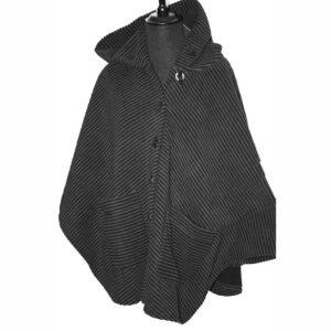 Boris Industries Fleece Cape Jacke grau schwarz Streifen