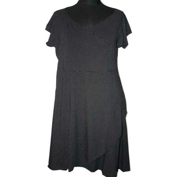 Boris Industries Kleid Wickeloptik schwarz Punkte