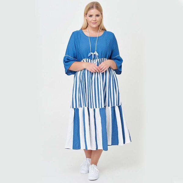 Zedd Plus Kleid blau weiß Vorne