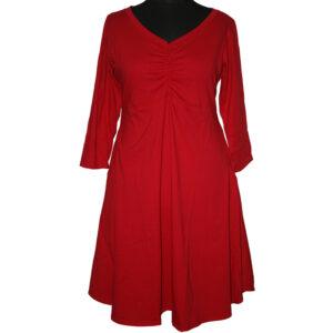 Boris Industries Kleid mittig gerafft rot