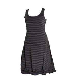 Boris Industries Kleid Träger Knotensaum schwarz grau