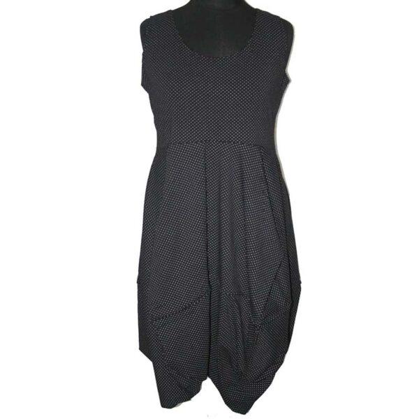 Boris Kleid Ballonform träger schwarz punkte
