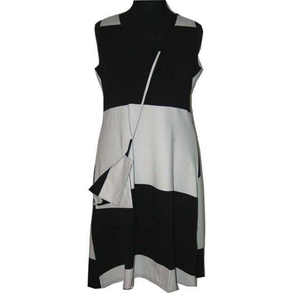 Boris Kleid blockstreifen schwarz beige