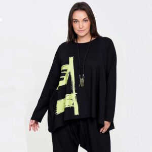 Zedd Plus Shirt schwarz grüner Print Vorne nah