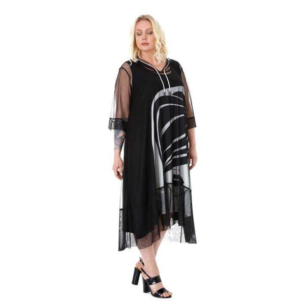 CN-G Kleid 2-Teilig mit Mesh schwarz weiß Seite