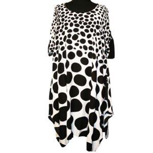 CN-G Kleid weiß schwarz Kreise