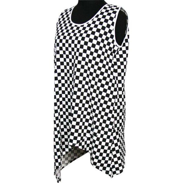 Kischella Design Top schwarz weiß Schachbrettmuster