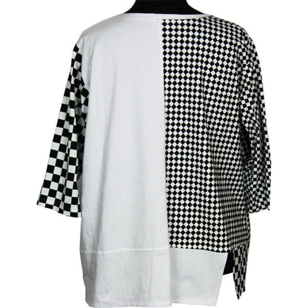 Kischella Shirt weiß Schachbrettmuster Hinten