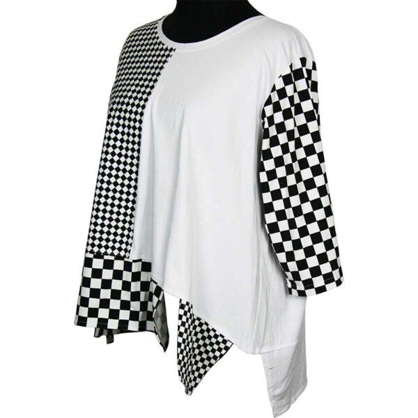 Kischella Shirt weiß Schachbrettmuster Seite
