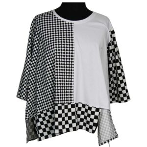 Kischella Shirt weiß Schachbrettmuster Vorne