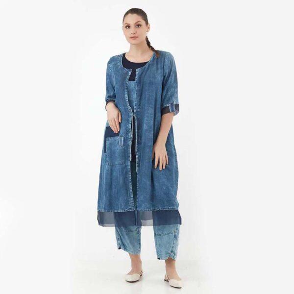 Zedd Plus Jeans Mantel blau Vorne