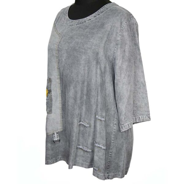 Zedd Plus Tunika Shirt grau Jeans Seite