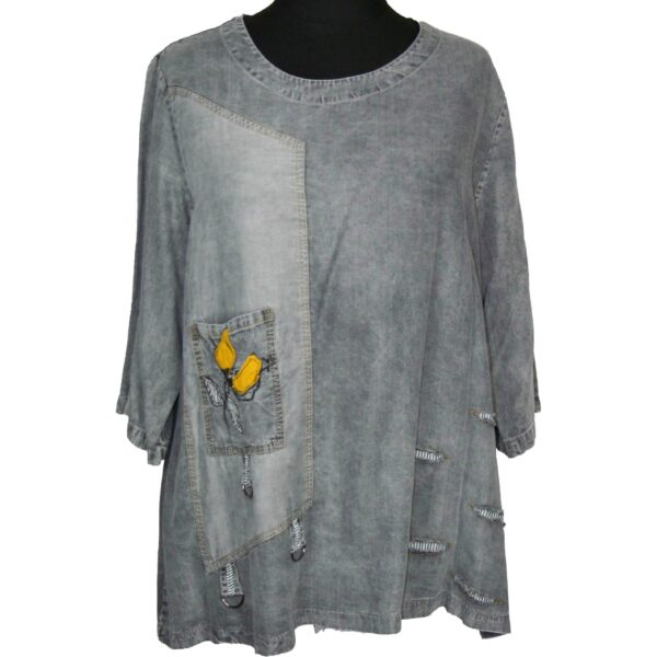 Zedd Plus Tunika Shirt grau Jeans Vorne