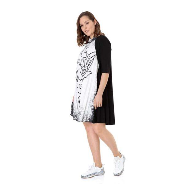 CN-G Kleid Plissee schwarz weiss Seite