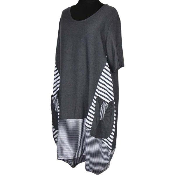 Kekoo Ballon Kleid grau streifen Seite