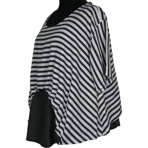 Kekoo T-Shirt grau weiß streifen breit Seite