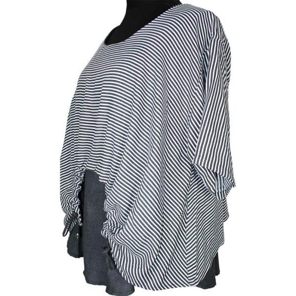 Kekoo T-Shirt grau weiß streifen schmal Seite