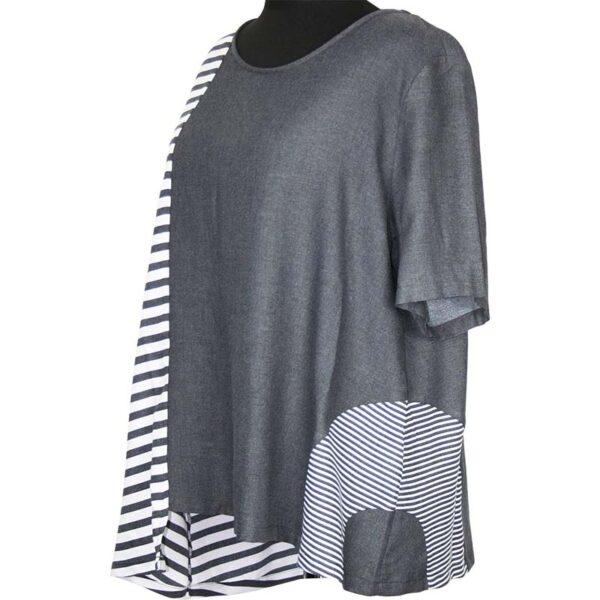 Kekoo T-Shirt grau weiße Streifen Seite