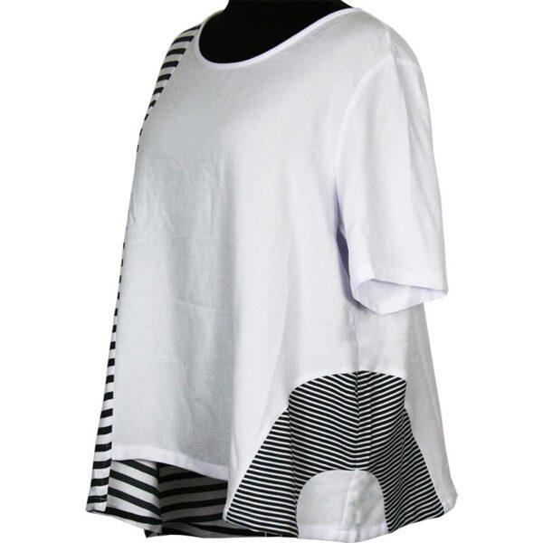 Kekoo T-Shirt weiß graue Streifen Seite