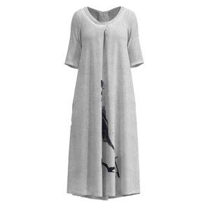 Luukaa Kleid beige Halbarm schwarzer PRint 21Y514