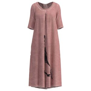 Luukaa Kleid rosa Halbarm schwarzer PRint 21Y514