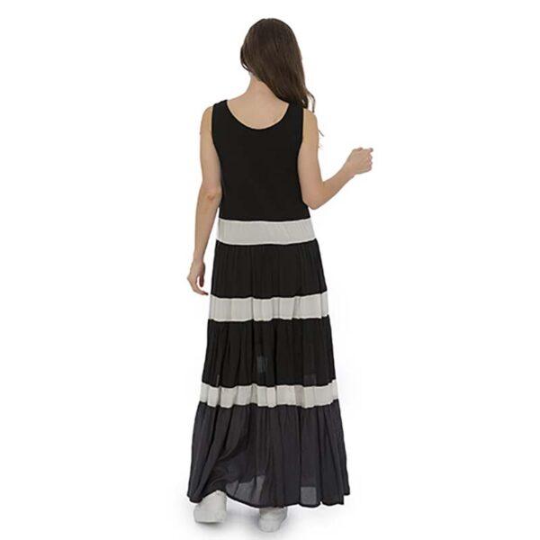 Luukaa Kleid schwarz weiß Träger Model Hinten 21Y509