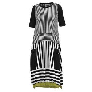 Luukaa Kleid schwarz weiß grün Kurzarm 21Y502