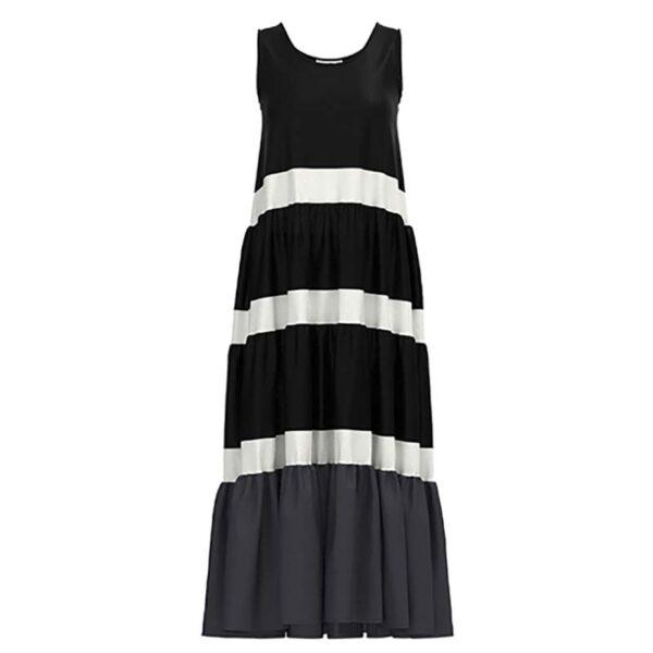 Luukaa Kleid schwarz weuß Träger Vorne 21Y509