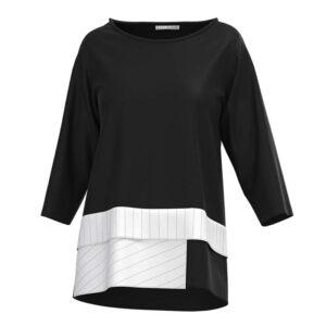 Luukaa Shirt shirt dreiviertel Arm weißer Volant 21Y128