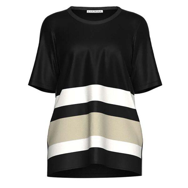 Luukaa T-Shirt schwarz weiß Halb Arm Vorne 21Y119