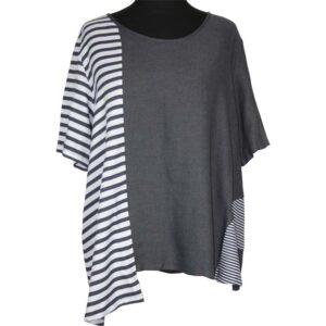 Kekoo T-Shirt grau weiße Streifen Vorne