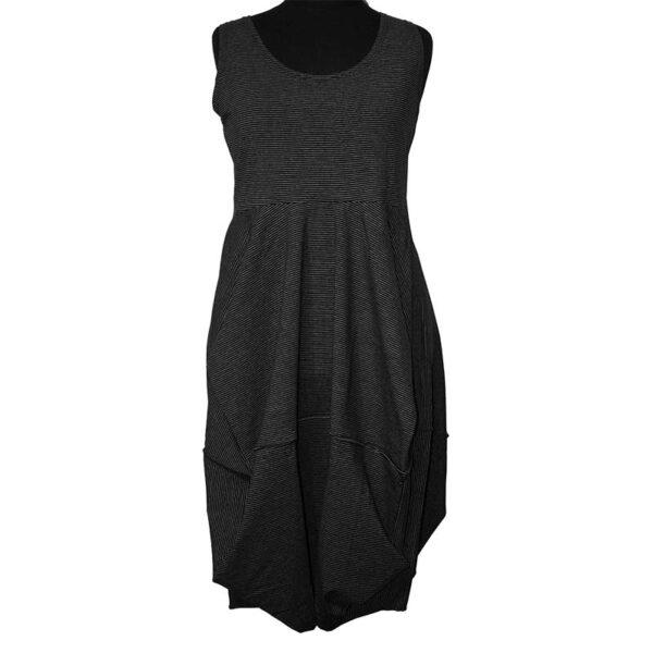 Boris Industries Kleid Ballonschnitt Träger schwarz weiß Streifen