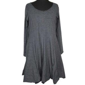 Boris Industries Kleid schwingend schwarz feine Streifen