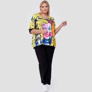 CN-G T-Shirt Druck gelb Pop Art Vorne