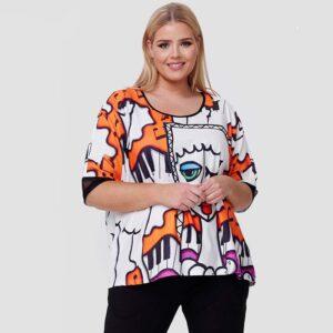 CN-G T-Shirt Druck weiß Pop Art Vorne nah