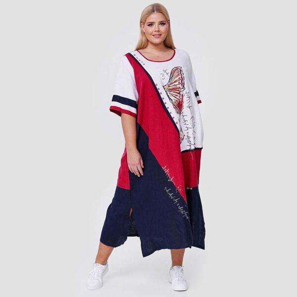Cleanson Kleid blau weiß rot Vorne