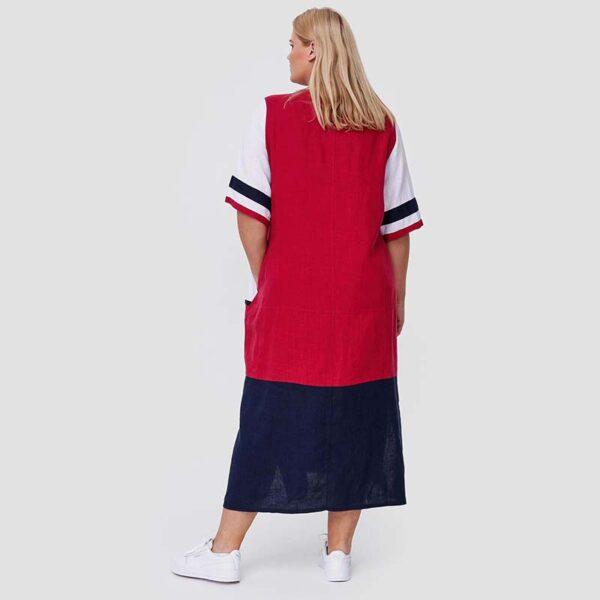 Cleanson Kleid blau weiß rot hinten