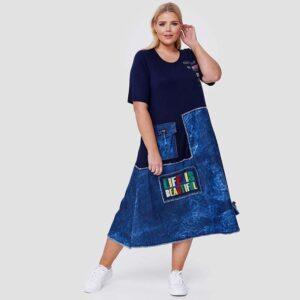 Cleanson Kleid jersey jeans blau Vorne_1