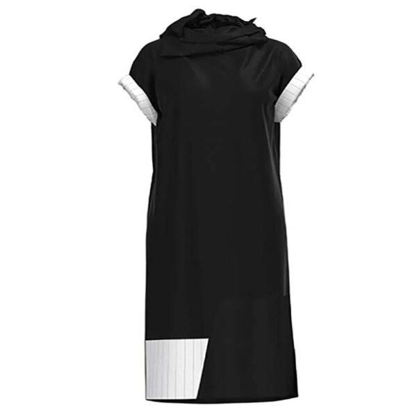 Luukaa Kleid schwarz kurzarm Rollkragen