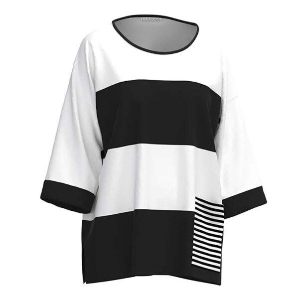 Luukaa Shirt schwarz weiß dreiviertel Arm Vorne