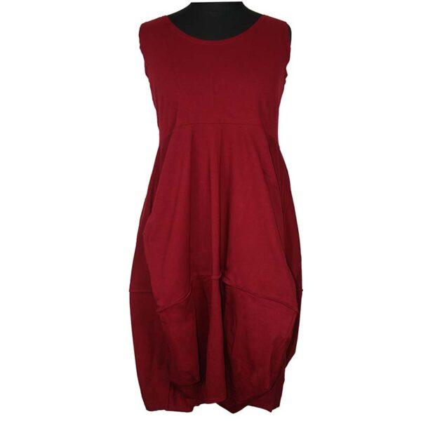 Boris Industries Kleid Ballonform Träger bordeaux rot