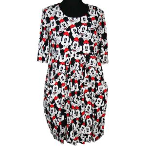 Naveed Kleid MIcky Mouse Köpfe schwarz weiss rot