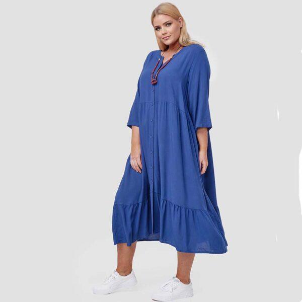 Zedd Plus romantisches Viskose Kleid blau Seite
