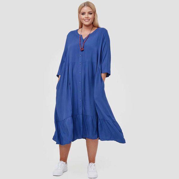 Zedd Plus romantisches Viskose Kleid blau schwingend Vorne2